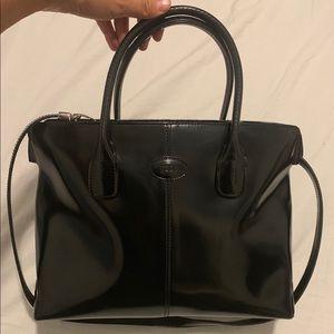 Tod's Shoulder Bag ,Black Patent Leather Satchel.